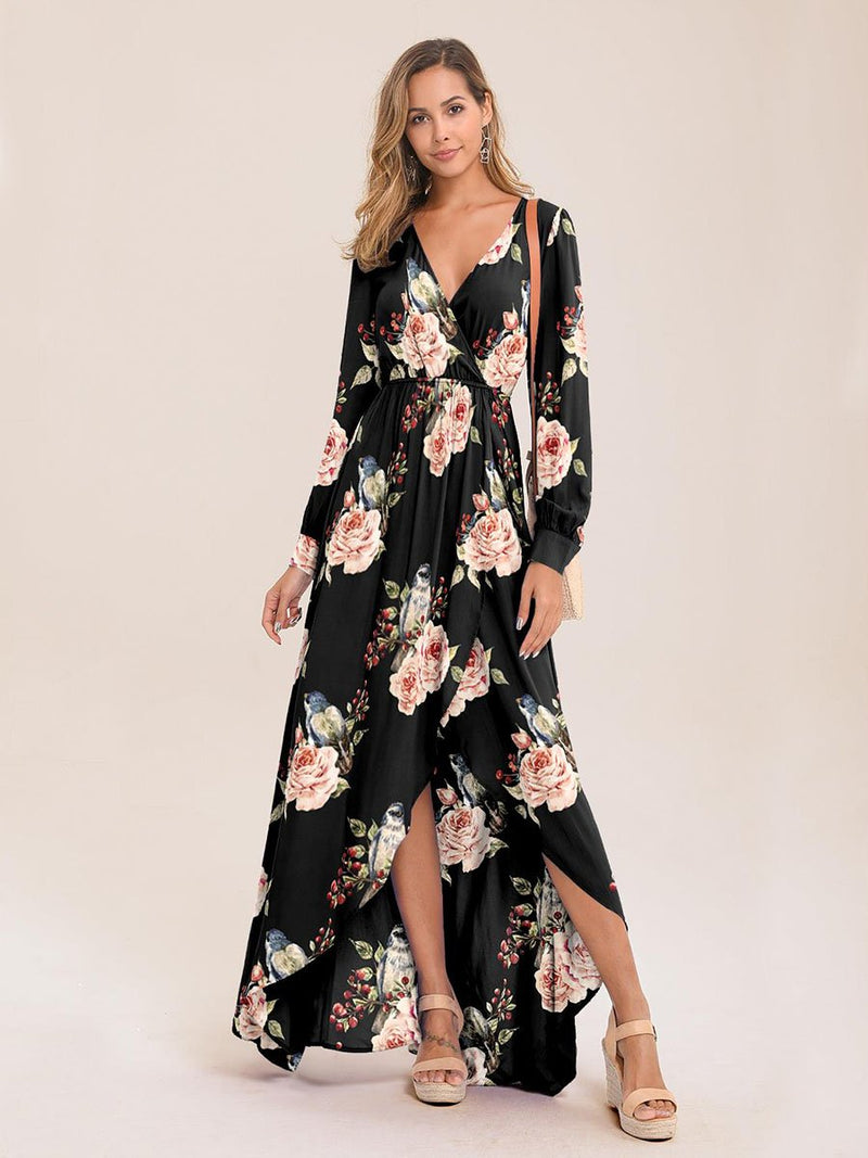 Surplice Neck Pleated Floral Print Dress