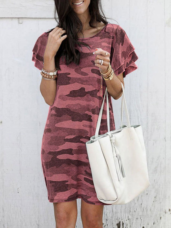 Camouflage Short-Sleeved Ruffle Dress