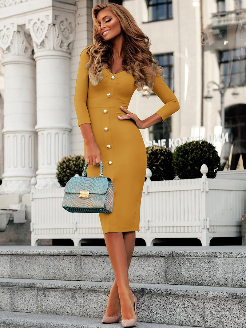Long Sleeves Low Cut Bodycon Midi Dress