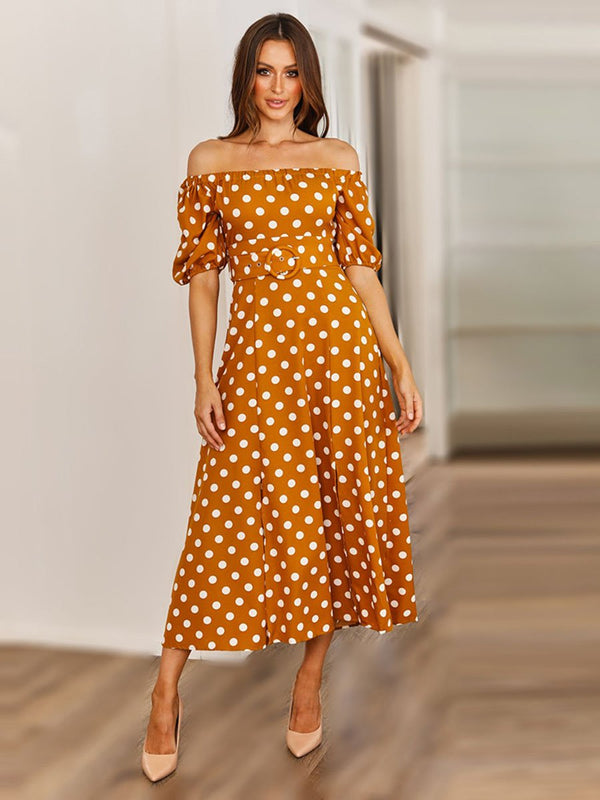 Polka Dot Off Shoulder Dresses