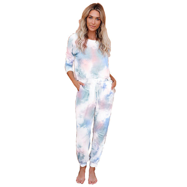 Tie Dye Waist Long Jumpsuit