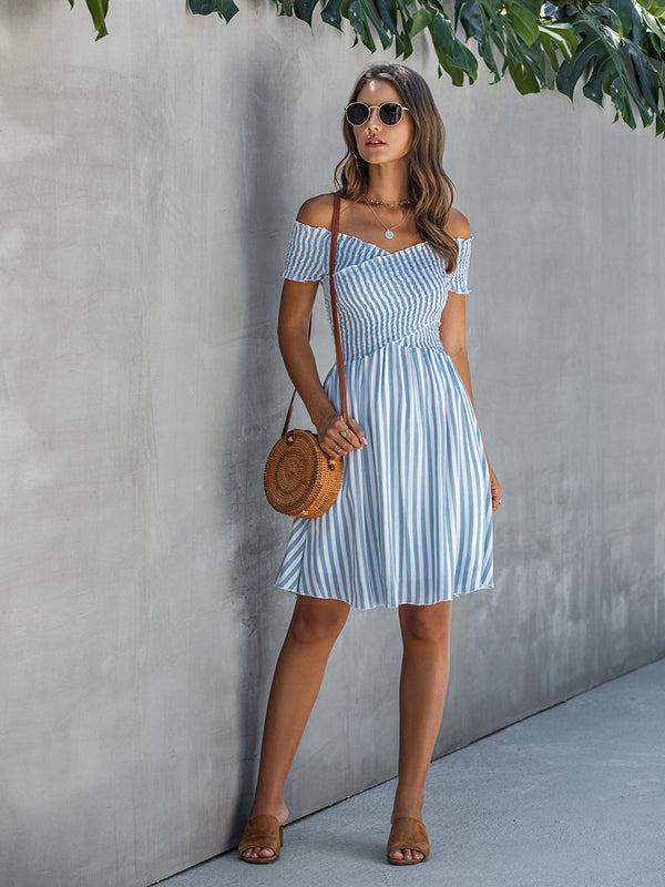 Women's Off Shoulder Stripe Dresses