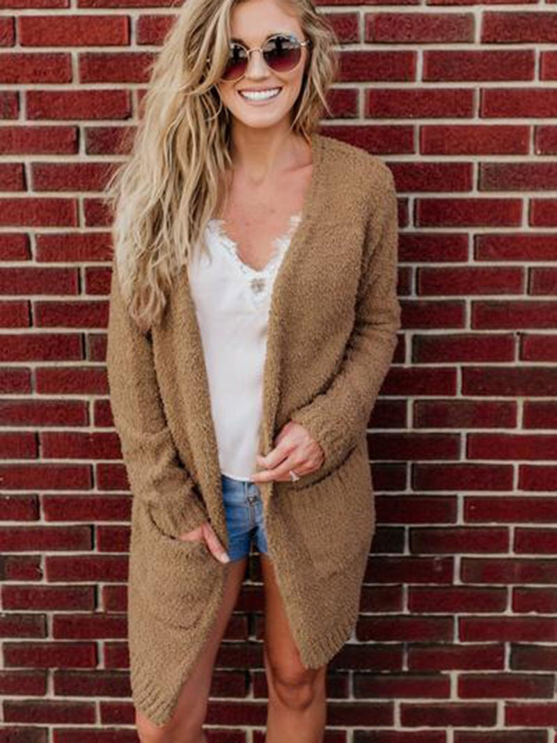 Open Front Large Pockets Long Sleeves Cardigan