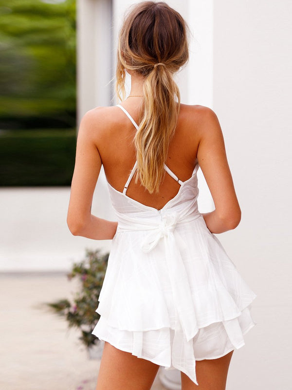 White Deep V-neck Backless Casual Mini Dress
