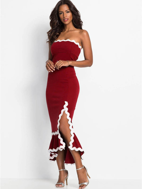 Women's Off Shoulder Bodycon Slit Maxi Dress