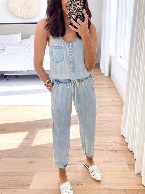 Slim Sleeveless Waistband Denim Jumpsuit