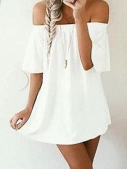 White Off The Shoulder Half Sleeves Dress