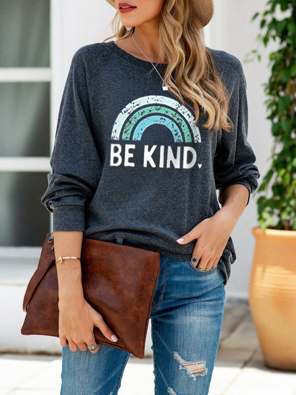 Crew Neck Long Sleeve Casual Printed Sweatshirt