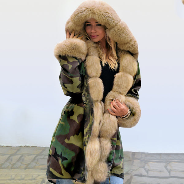 Hooded Faux Fur Lined Warm Coats