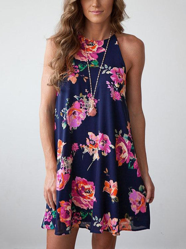 Random Floral Print Halter Neck Casual Dress - Landing Closet