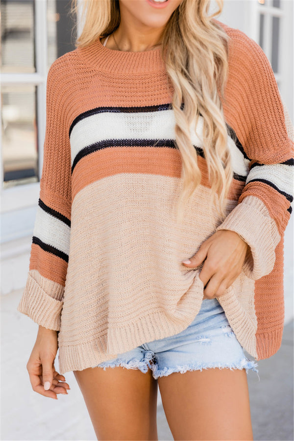 Crew Neck Loose Casual Color Knitted Sweater