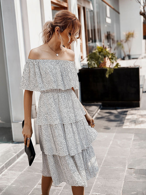 Off The Shoulder Sleeveless Tiered Ruffle Midi Dress