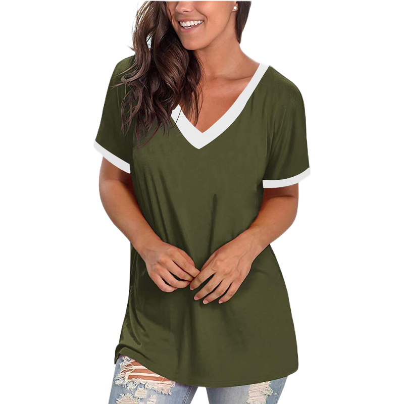 V Neck Casual Short Sleeve T-Shirt