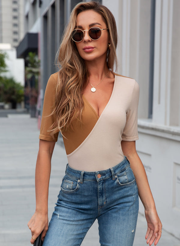 V Neck Short Sleeve Waffle Knit Tops