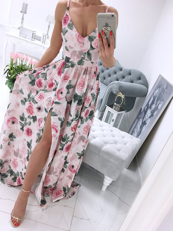Spaghetti Strap Sleeveless Floral Side Split Maxi Dress
