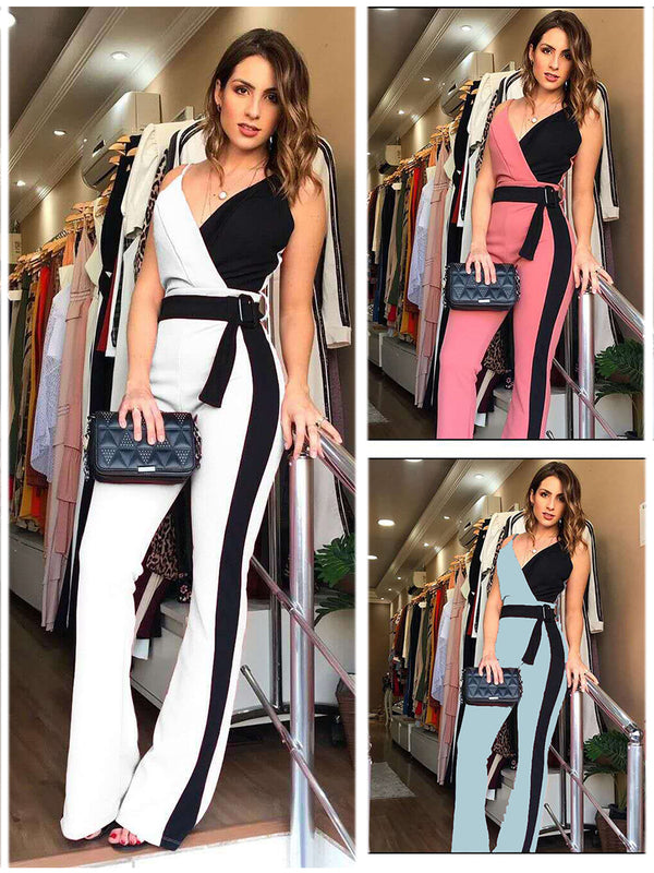 Spaghetti Strap V Neck Jumpsuit Long Pants with Belt
