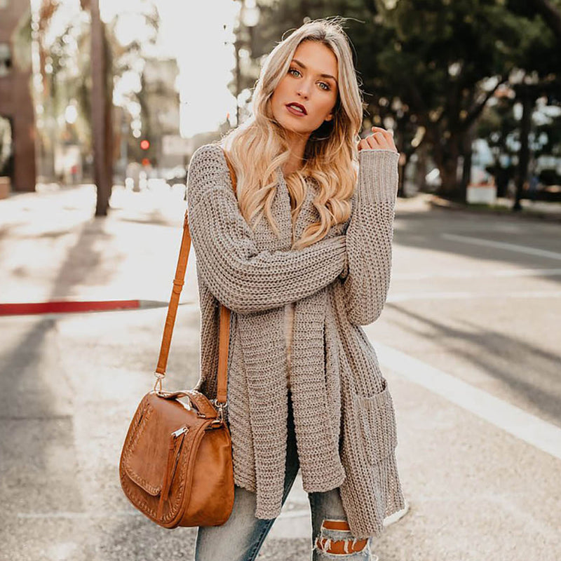 Long Sleeve Hollow Long Cardigan Sweater