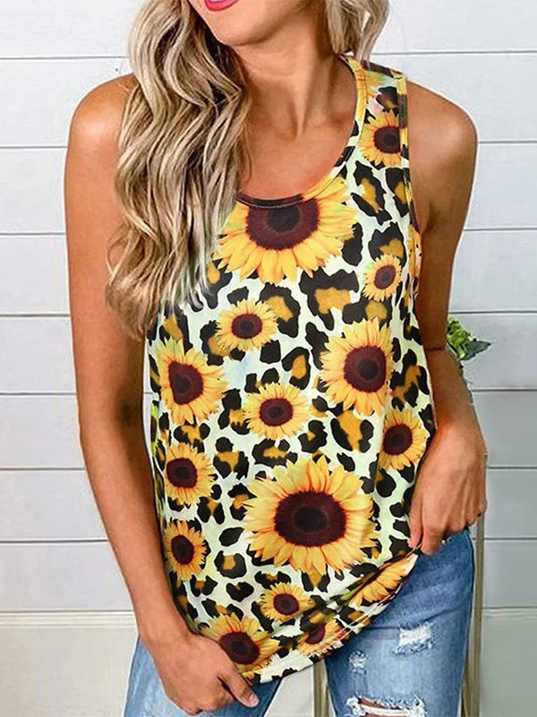 Sleeveless Floral Round Neck Tank Top