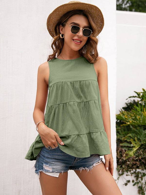 Round Neck Sleeveless Loose Fit Tank Top
