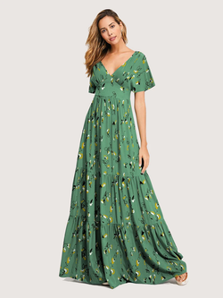 Floral V-neck Short Sleeves Maxi Dress