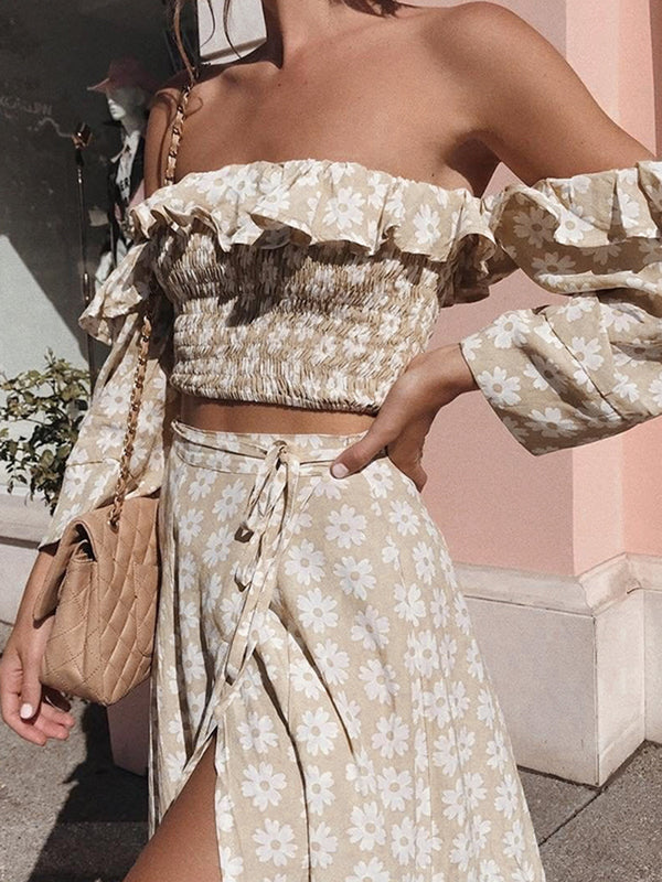 Ruffle Off Shoulder Slit Long Skirt 2 Pieces Set