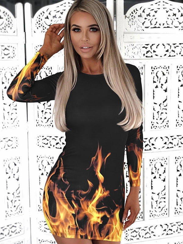 Fire Printed Long Sleeve Bodycon Mini Skirt - Landing Closet