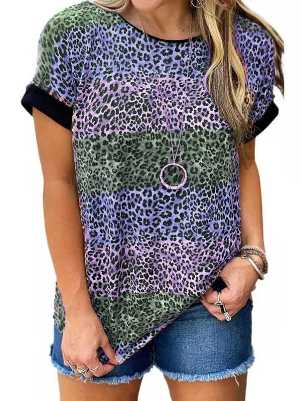 Round Neck Short Sleeves Leopard T-Shirt Tops
