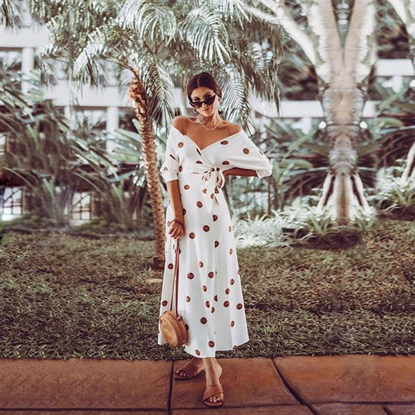 Casual Large Polka Dot V Neck Off Shoulder Maxi Dress