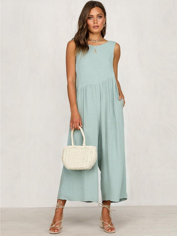 Sleeveless Backless Round Neck Jumpsuit