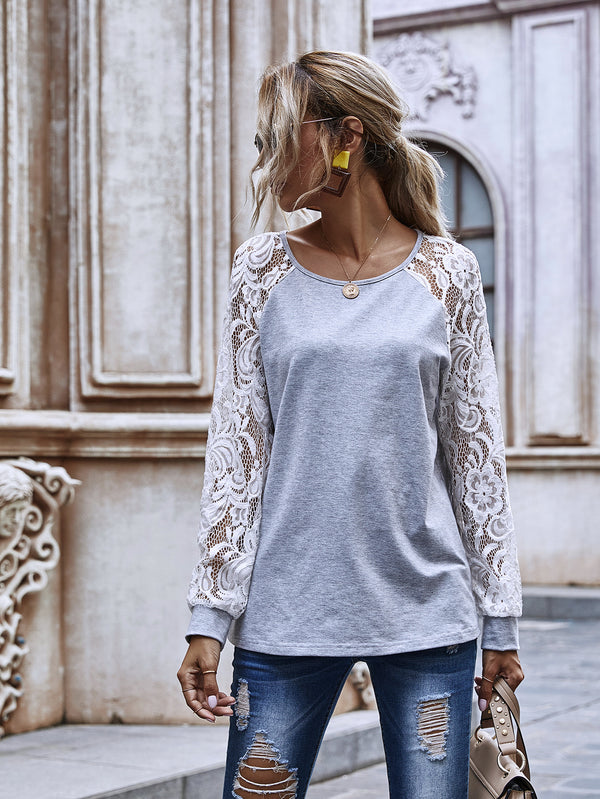 Long White Lace Sleeve Round Neck Top