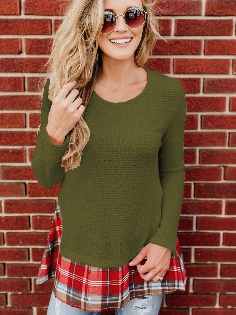 Long Sleeve Stitching Plaid Round Neck Pullover Top