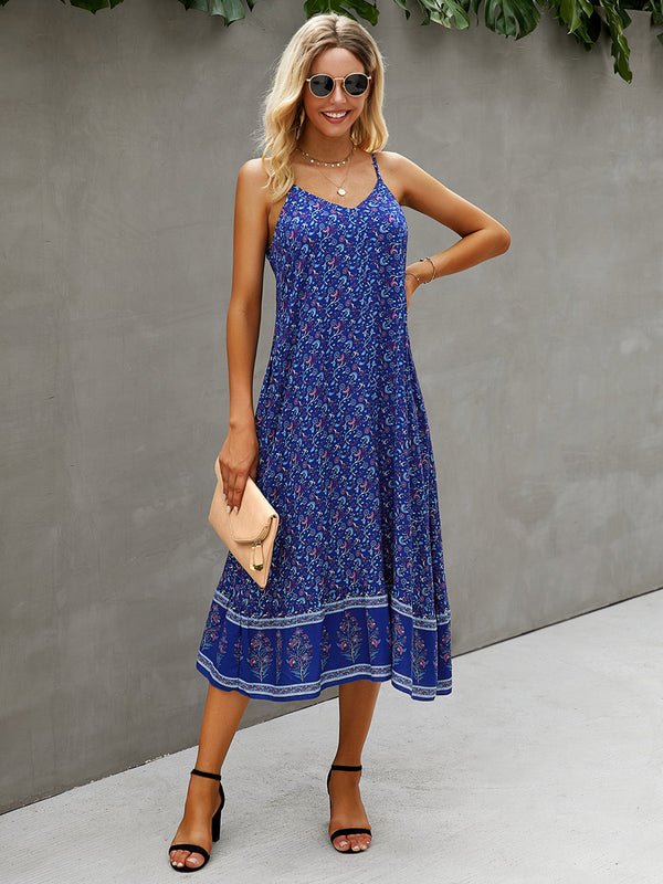 Sleeveless Adjustable Spaghetti Strap Boho Beach Maxi Dress