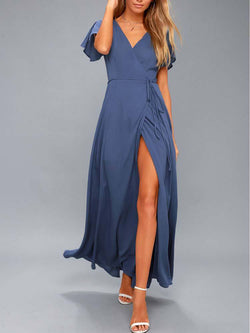Navy Short Sleeve Sexy Summer V-Neck Maxi Dress