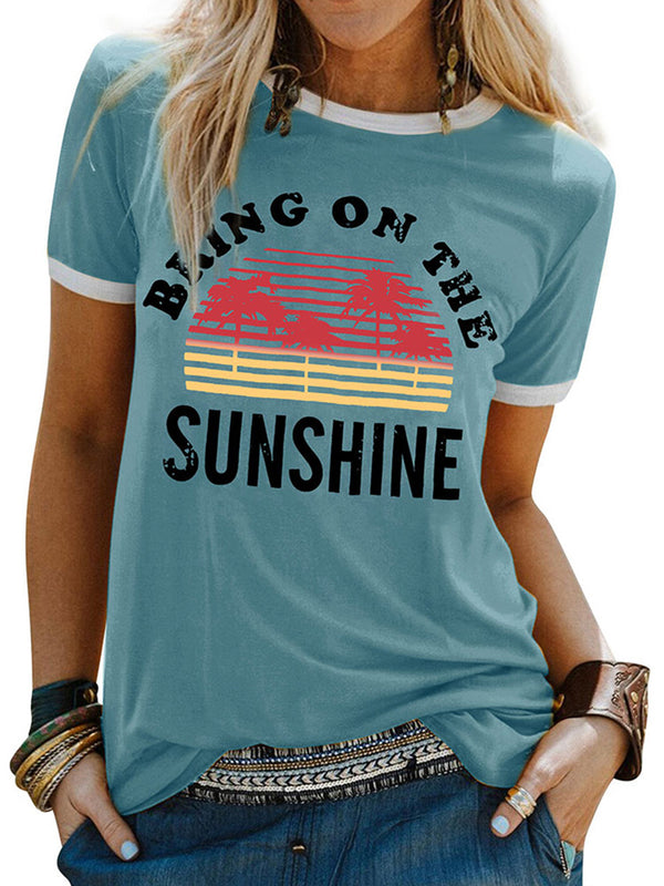 Short Sleeve Round Neck Printed Sunshine T-Shirt