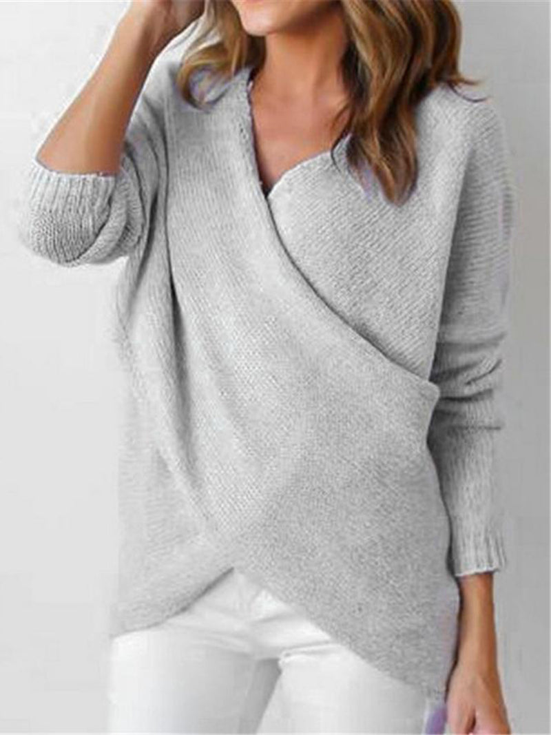 Knitted Deep V-Neck Long Sleeve Wrap Sweater