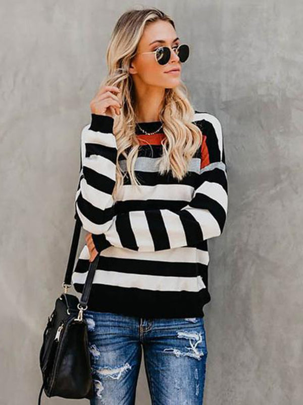Long Sleeve Stripe Scoop Neck T-shirt