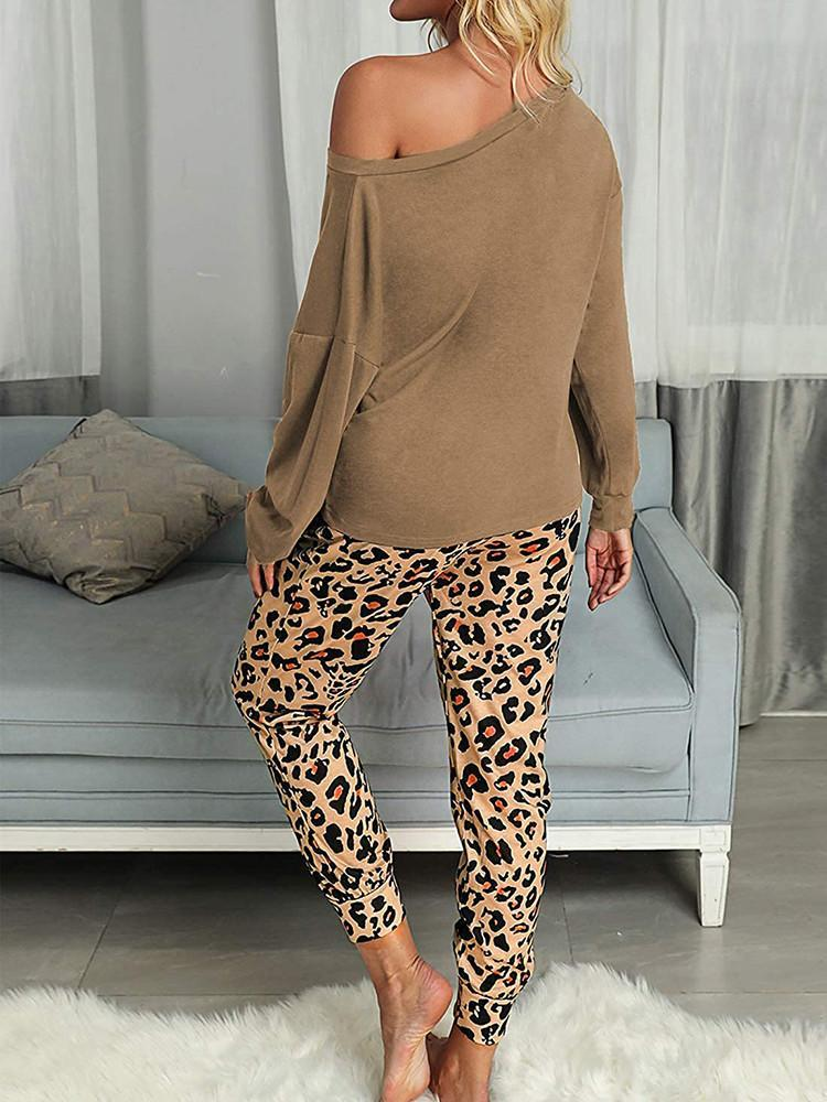 Leopard Print Long Sleeve Sleepwear Two-piece