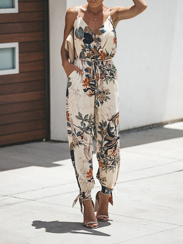 V Neck Split Long Floral Pocketed Romper Jumpsuits