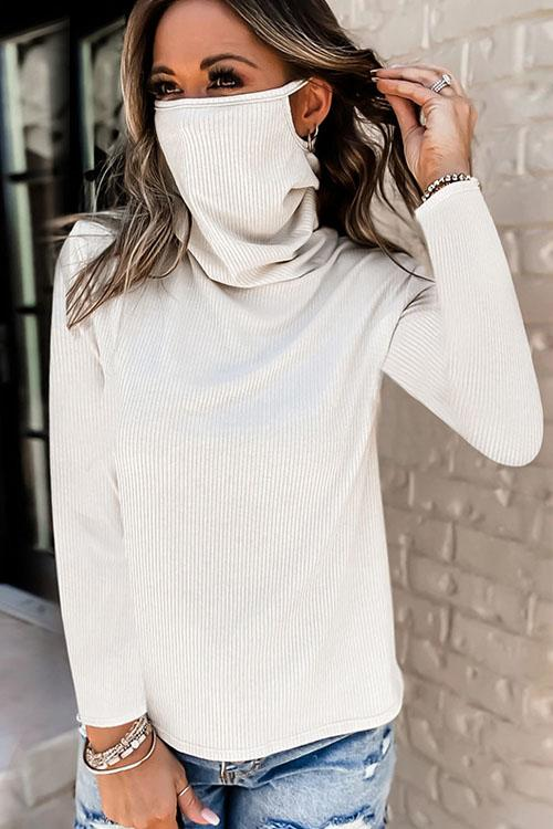Pile Up  High Collar Mask Blouse Top
