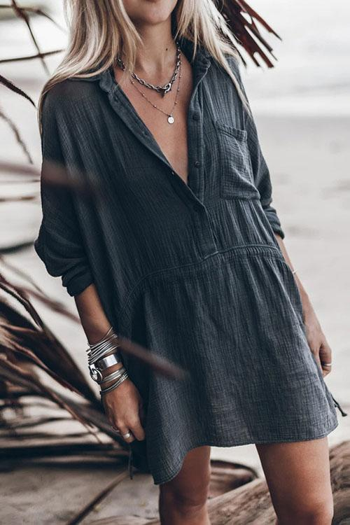 Casual Loose Cotton Linen V-neck Dress