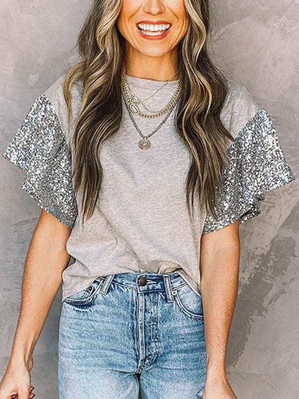 Short Sleeve Sequin Round Neck T-shirt Top