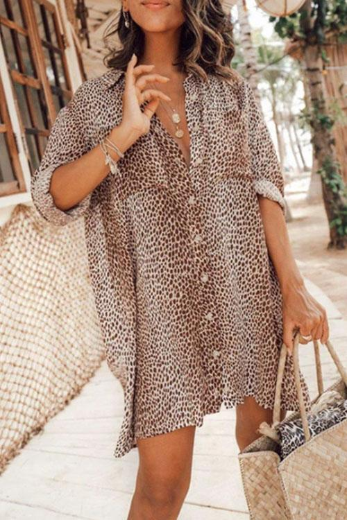Leopard Lady Shirt Dress