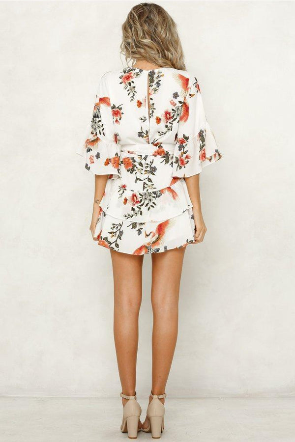 White 3/4 Length Sleeve Floral Pleated Hem Mini Dress
