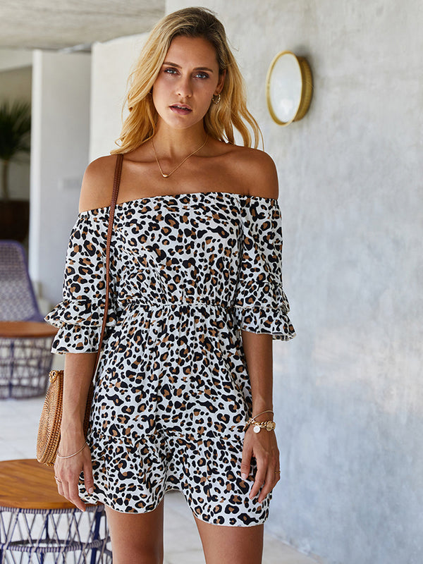 Leopard Print Off Shoulder Mini Dress
