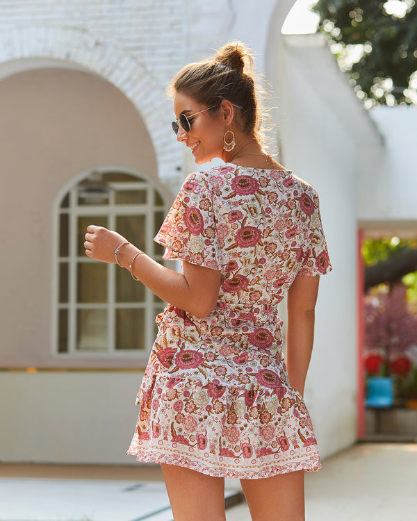 Boho Short Sleeve Floral Mini Dress