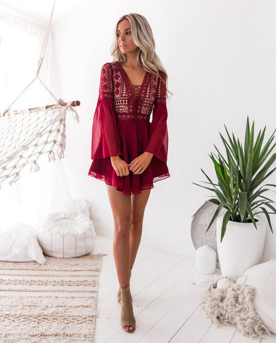 Long Mesh Sleeve Mini Ruffle Dress