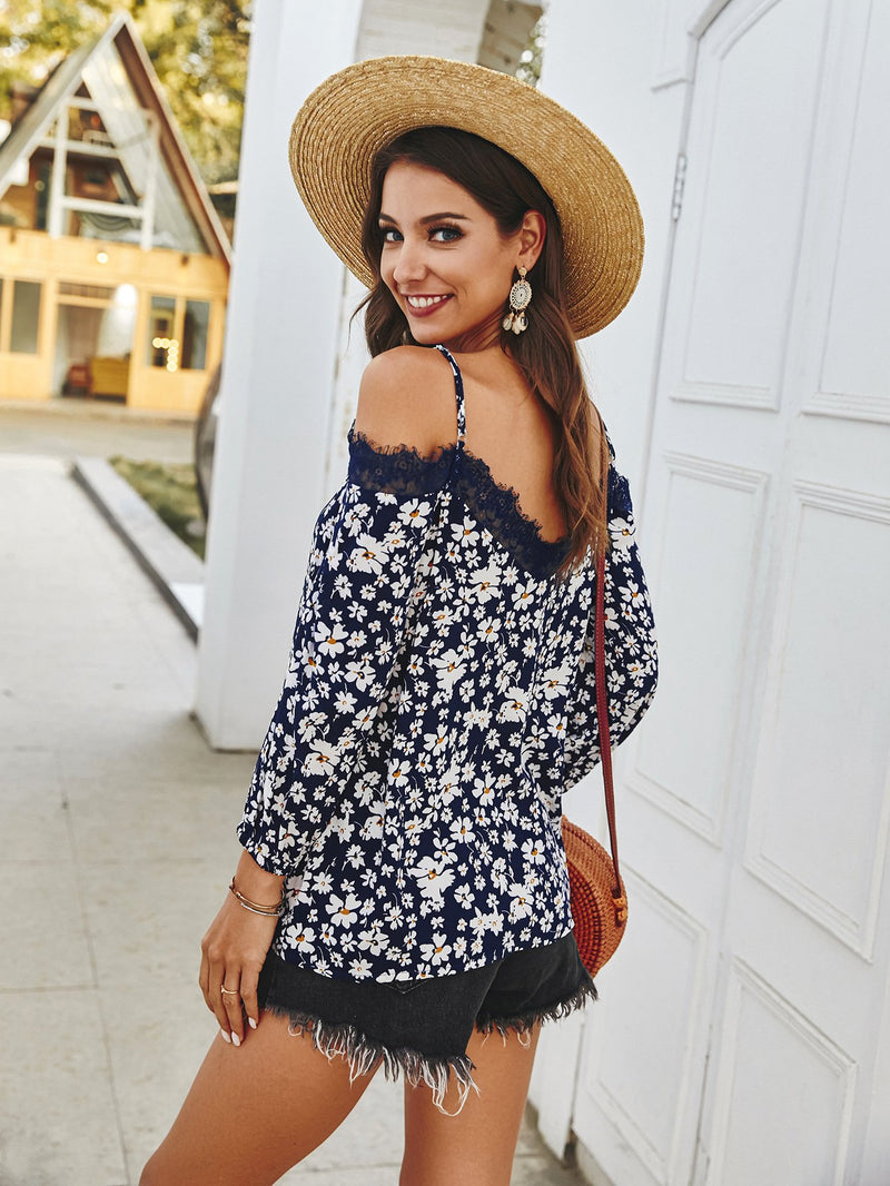 Spaghetti Strap Off Shoulder Floral Tops