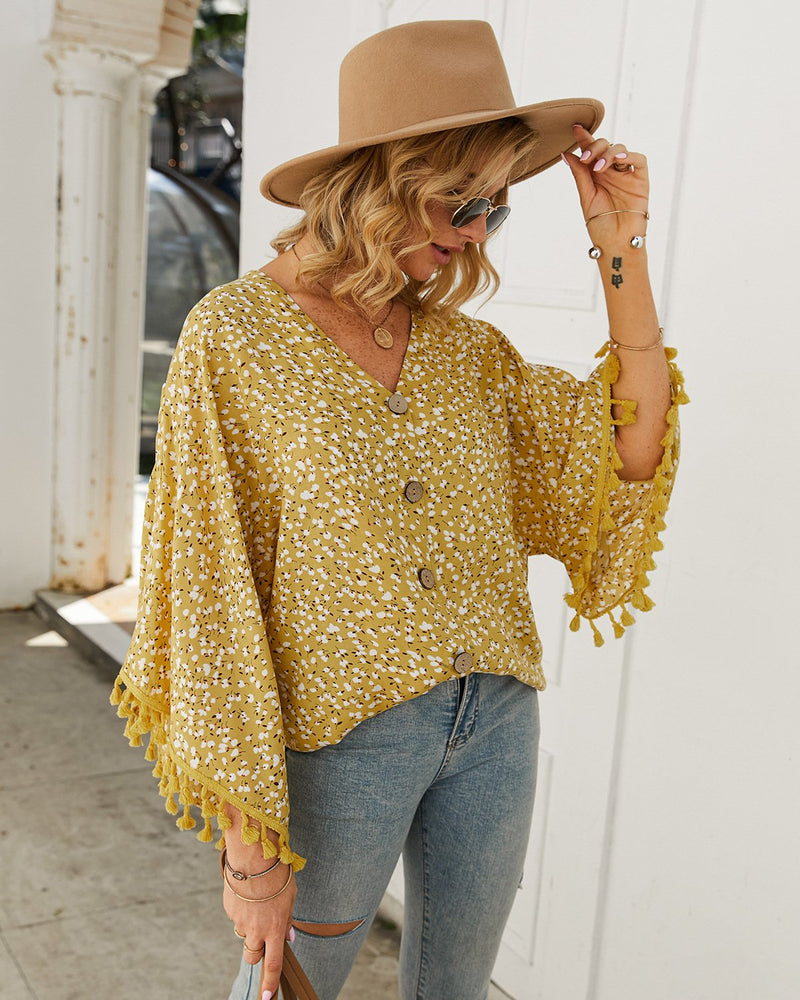 Women's Tassel Sleeve Floral Shirt