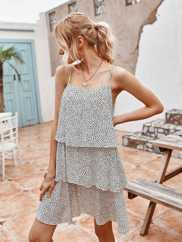 Spaghetti Strap Polka dot Midi Dress