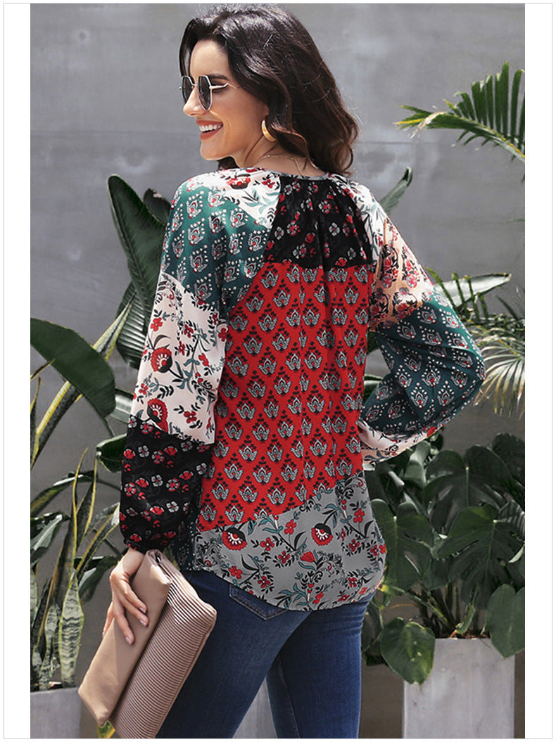 Casual Floral Long Sleeve Top